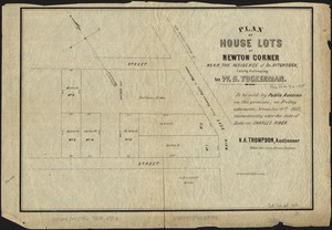 Plan of house lots at Newton Corner near the residence of Dr. Hitchcock, lately belonging to W.S. Tuckerman