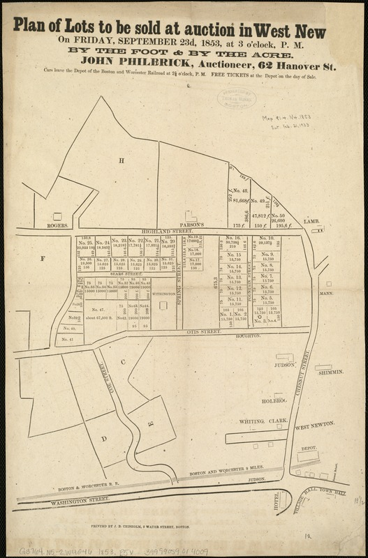 Plan of lots to be sold at auction in West New[ton] on Friday, September 23d, 1853, at 3 o'clock, p.m