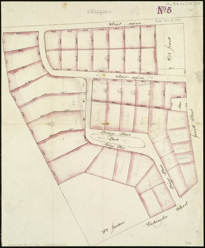 [Plan of house lots on Briggs Place, Newton]