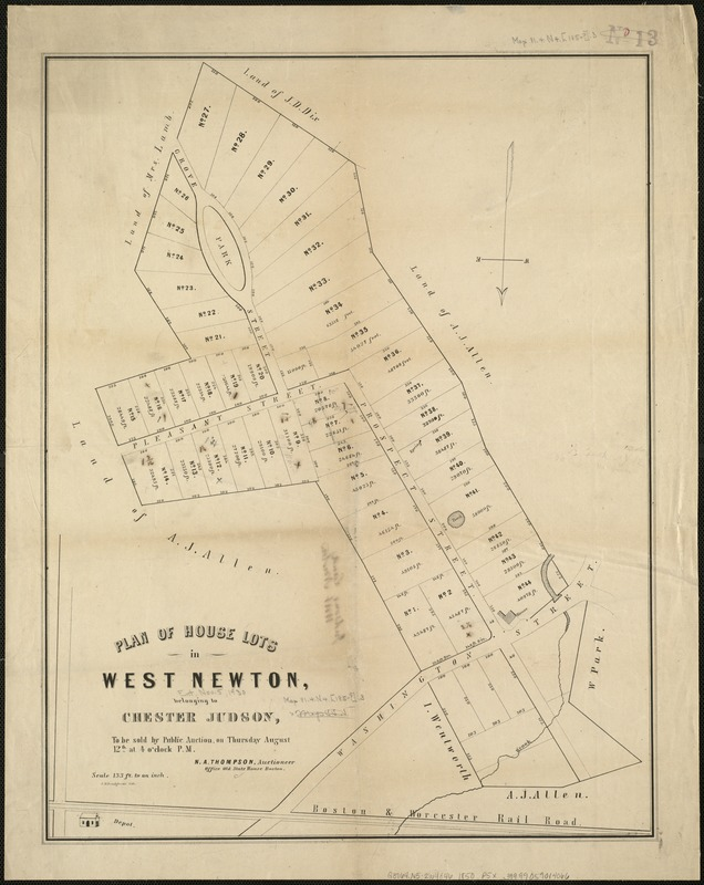 Plan of house lots in West Newton, belonging to Chester Judson, to be sold by public auction, on Thursday August 12th at 4 o'clock p.m