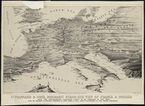 Stannard & Son's, panoramic birds-eye view of France & Prussia and the surrounding countries likely to be involved in the War, with the railways & startegic positions of each army, & the great fortresses of the Rhine provinces