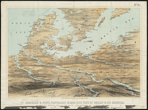 Stannard & Son's, panoramic birds-eye view, of Berlin & its defences, the principal Prussian ports on the Baltic, with Denmark and Schleswig Holstein