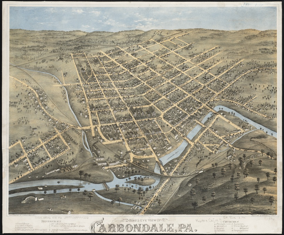Bird's eye view of Carbondale, Pa