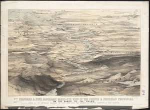 Stannard & Son's, panoramic birds-eye view of the French & Prussian provinces, on the banks of the Rhine, shewing all the fortresses belonging to each army, with the railways & frontier boundaries of each country