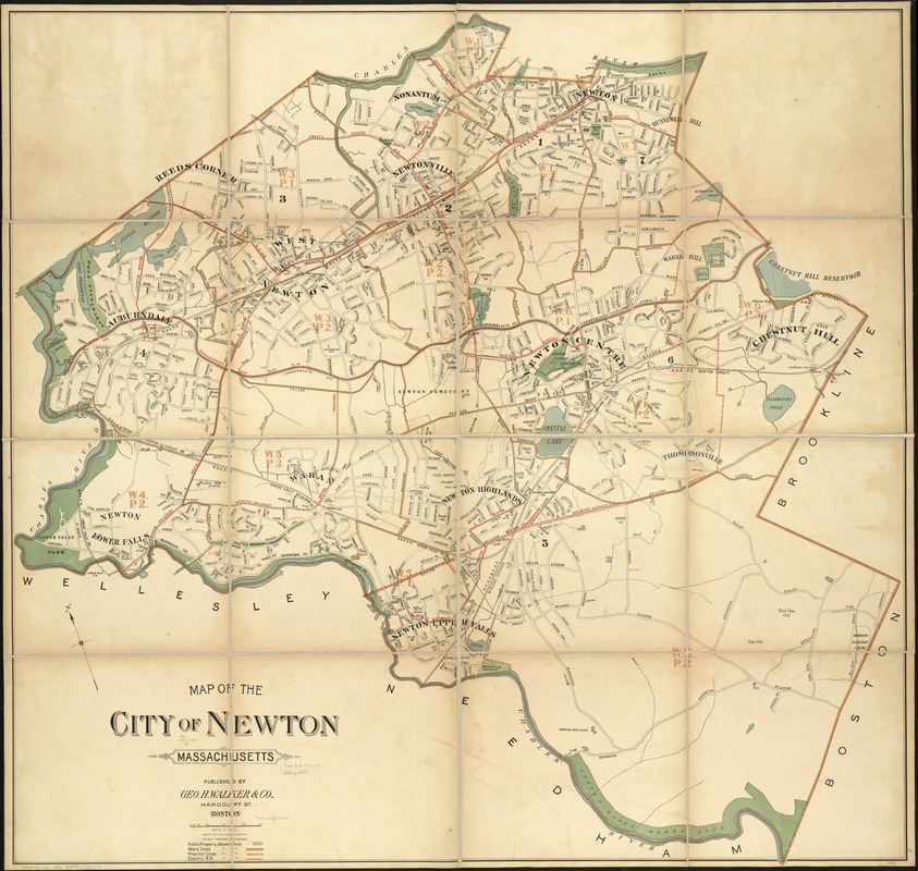 Map of the city of Newton Massachusetts
