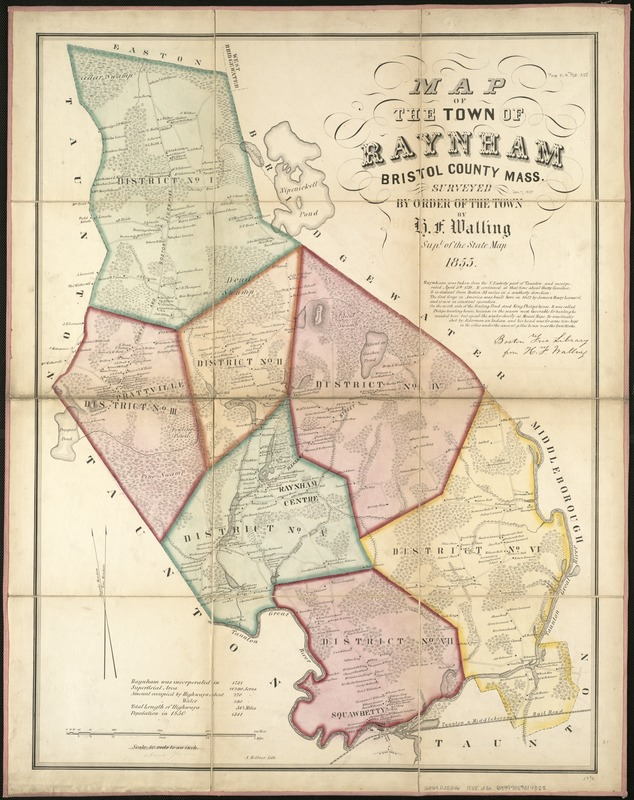 Map of the town of Raynham, Bristol County, Mass