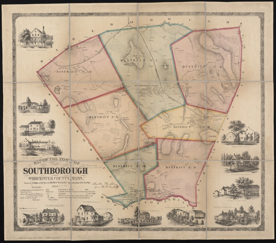 Map of the town of Southborough Worcester County, Mass