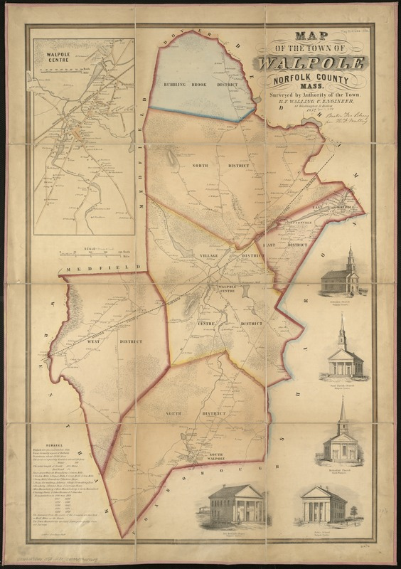 Map of the town of Walpole Norfolk County Mass