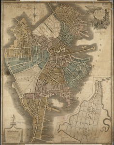 Map of Boston in the state of Massachusetts