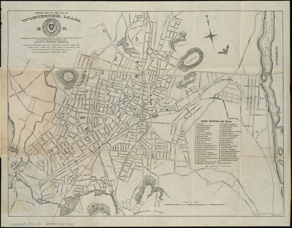 Pocket map of the city of Worcester, Mass