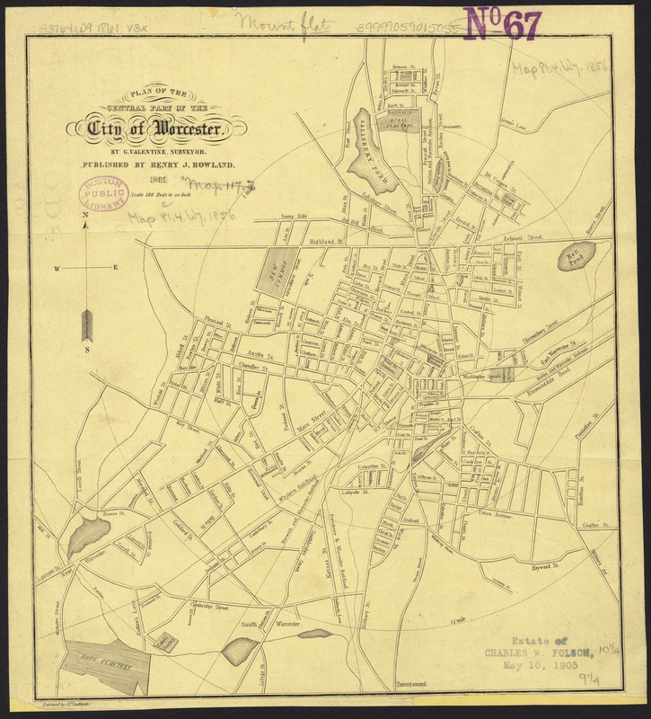 Plan of the central part of the city of Worcester