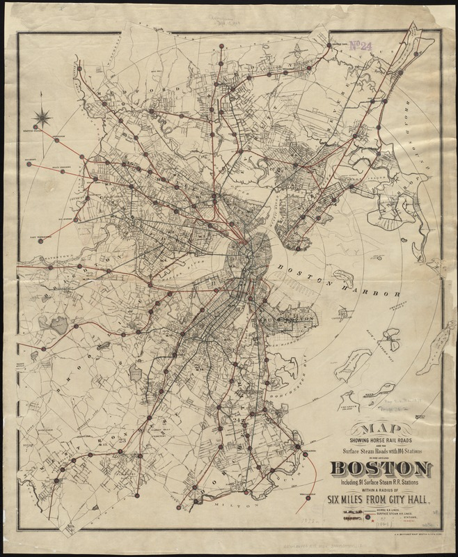 Map showing horse rail roads and the surface steam roads with 104 stations in and around Boston