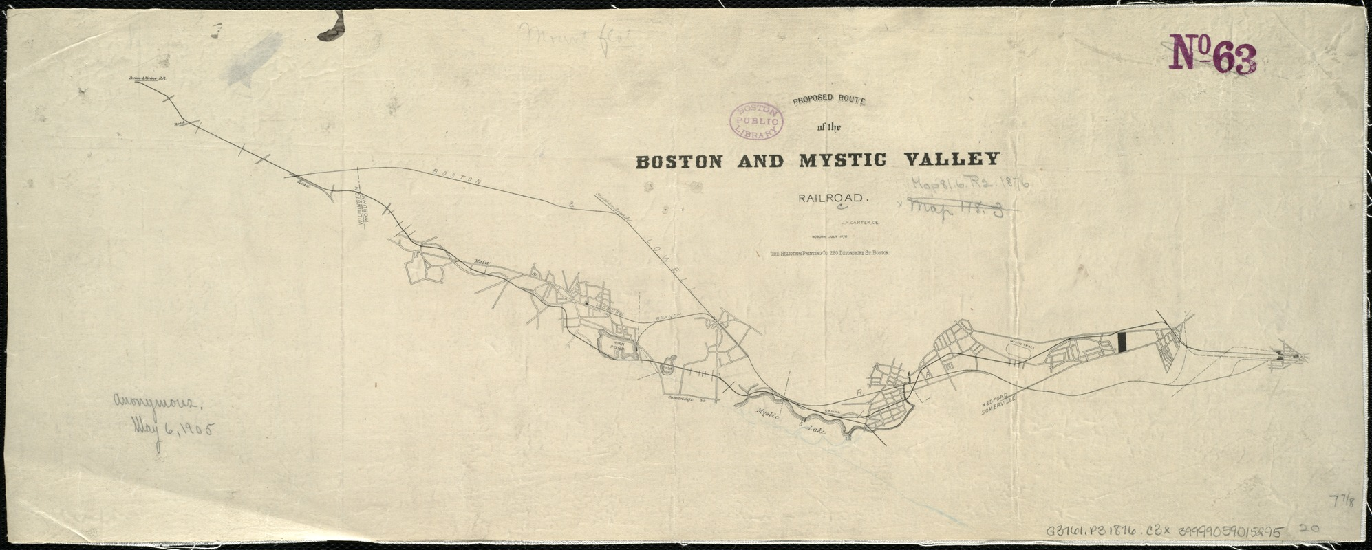 Proposed route of the Boston and Mystic Valley railroad