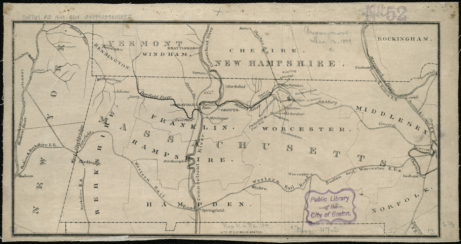 [Map of the railroads of Massachusetts running west from Boston]