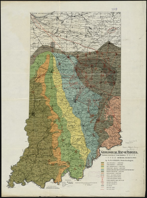 Geological map of Indiana, showing location of stone quarries and natural gas and oil areas