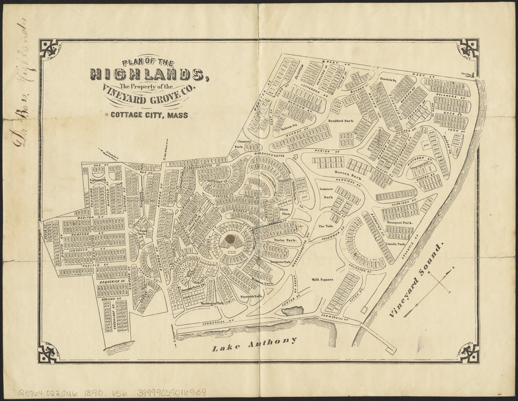Plan of the Highlands, the property of the Vineyard Grove Co