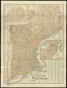 New post office, township, county and railroad map of New England