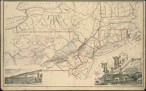 Map of the South Mountain and Boston Railroad & connections showing territory passed through, rail-roads and canals crossed or connected with, together with mineral and geographical features of country passed through
