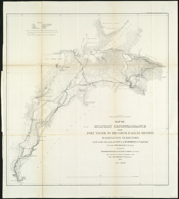 Map of military reconnaissance from Fort Taylor to the Coeur d'Alene mission, Washington Territory