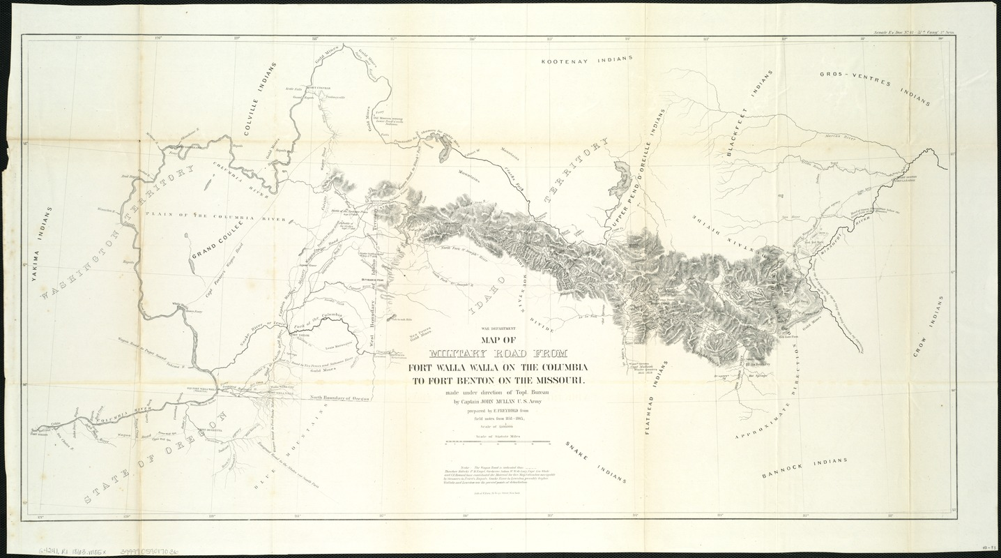 Map of military road from Fort Walla Walla on the Columbia to Fort Benton on the Missouri