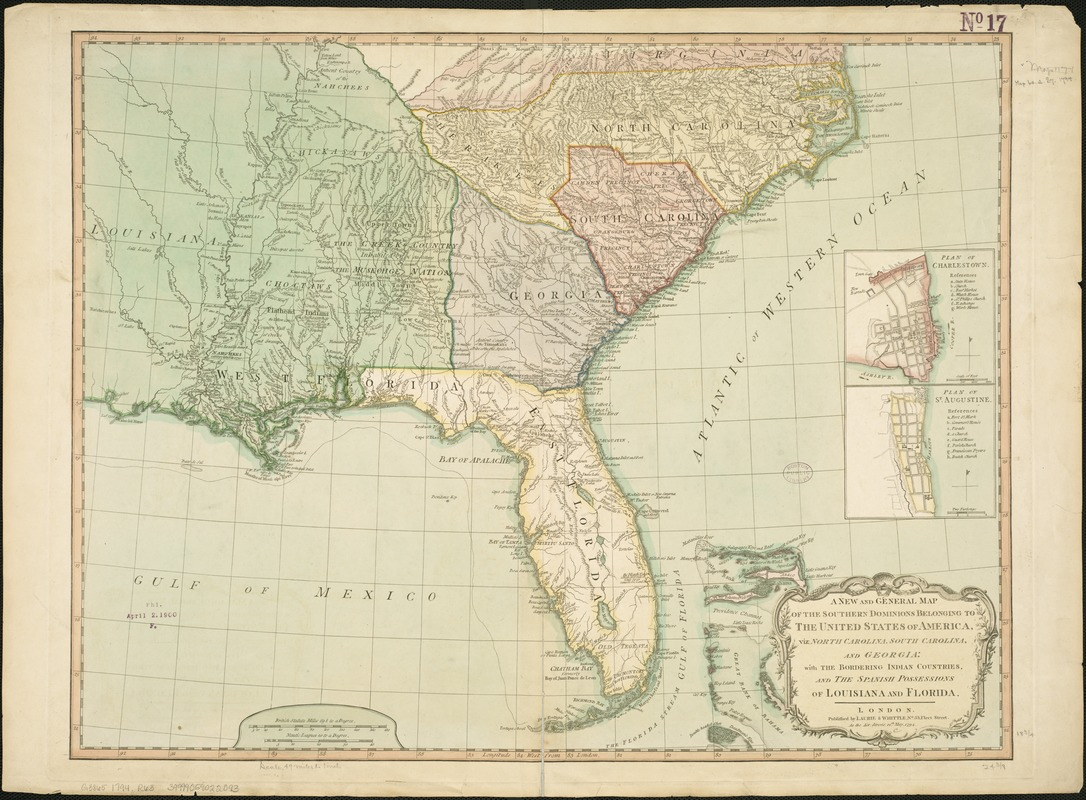 Image of: A New And General Map Of The Southern Dominions Belonging To The United States Of America Viz North Carolina South Carolina And Georgia Norman B Leventhal Map Education Center