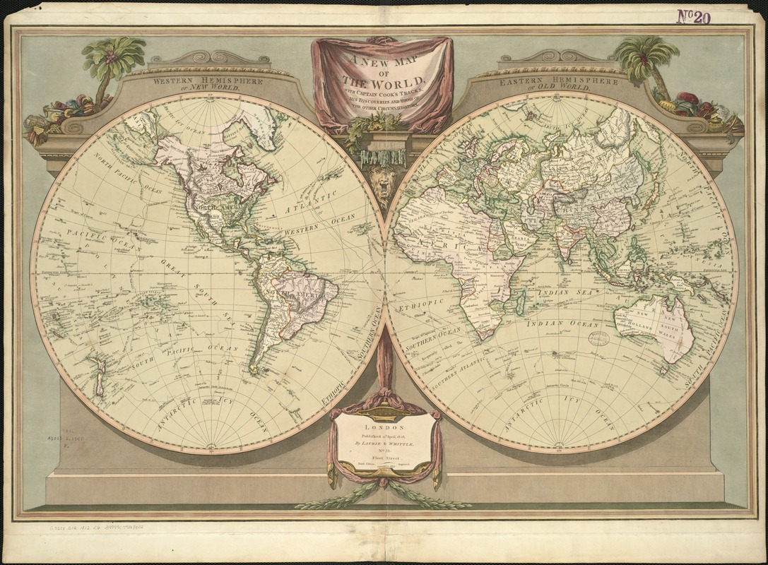 A new map of the world, with Captain Cook's tracks, his discoveries and those of the other circumnavigators