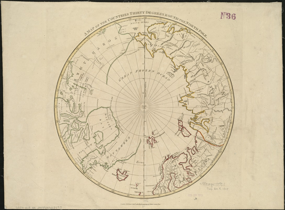 A map of the countries thirty degrees round the north pole