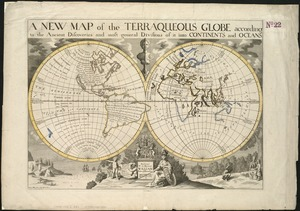 A new map of the terraqueous globe according to the ancient discoveries and most general divisions of it into continents and oceans