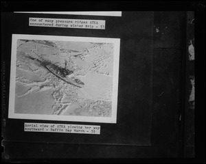 Aerial view of U.S.S. Atka plowing her way southward – Baffin Bay March 53