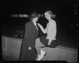 Barbara Ann Scott and older woman, rink side