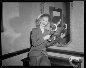 Barbara Ann Scott with toy horse