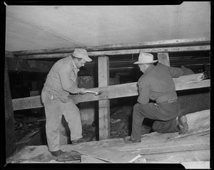 Two men installing plywood boards