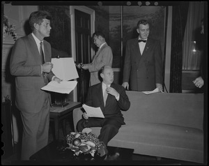 Adlai Stevenson meeting in a room with John F. Kennedy and two others