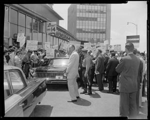 Adlai Stevenson motorcade and crowds waiting for arrival at airport