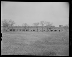Exterior view of Fort Warren building behind a row of trees
