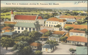 Aerial view of Oranjestad, showing St. Francisca R. C. church