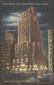 Alfred Building, Place d'Armes, Montreal, Que., at night