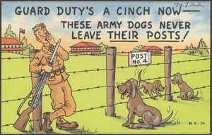 Guard duty's a cinch now - these army dogs never leave their posts!