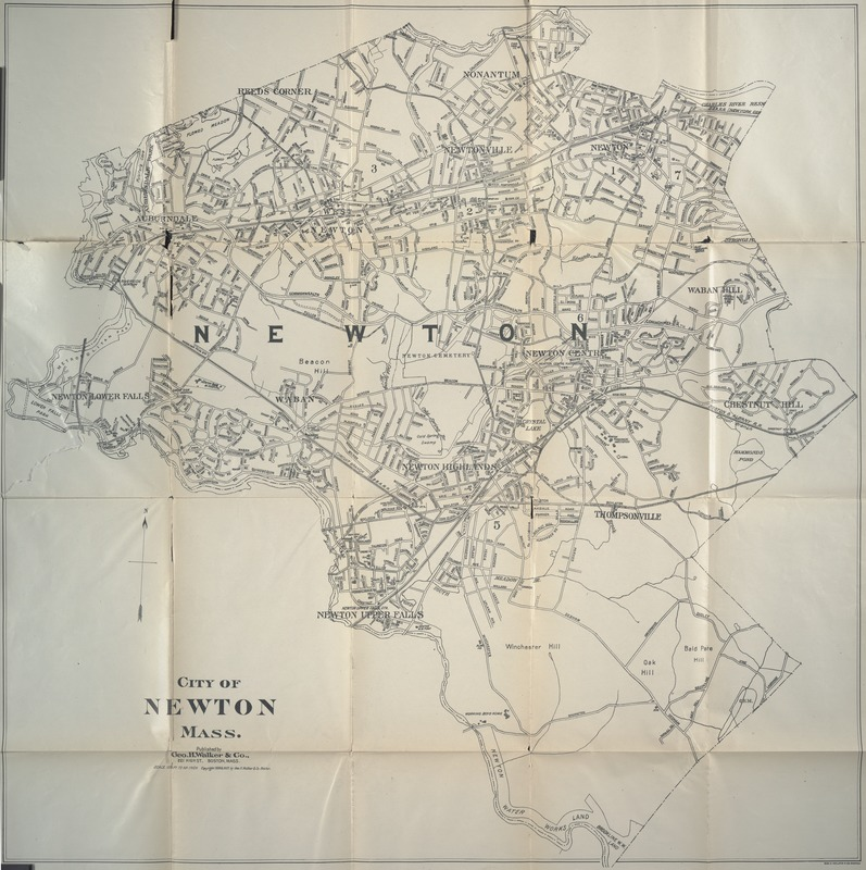 Blue book of Newton ... containing lists of the leading residents, societies, etc. with street directory and new map. - Map of the City of Newton, Mass. - -