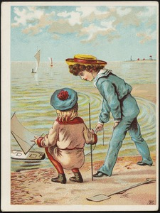 Girl and boy by the beach with a toy boat in the water.