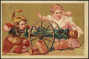 Boy and girl in classical costume, the boy in armor about to fire a cannon while the girl watches.
