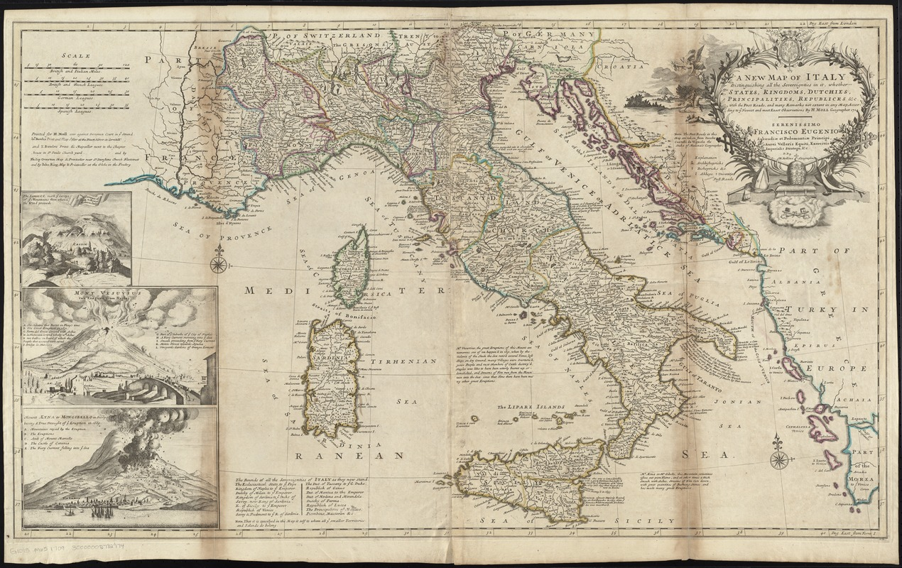 A new map of Italy distinguishing all the sovereignties in it, whether states, kingdoms, dutchies, principalities, republicks, &c