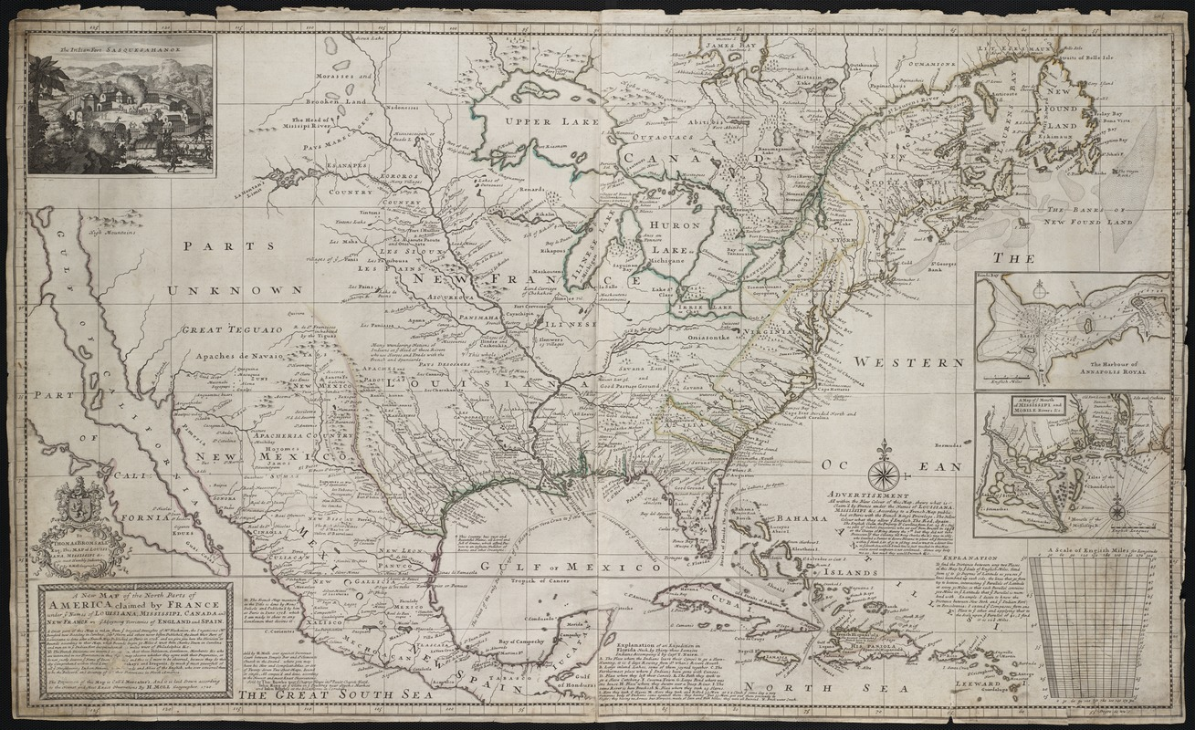 Map Of England France And Spain.A New Map Of The North Parts Of America Claimed By France Under Ye