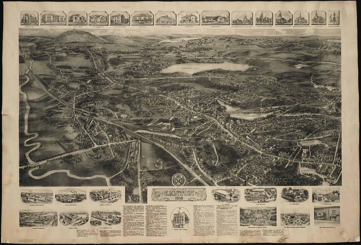 Aero view of Canton, Mass. 1918