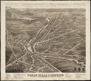 Bird's eye view of Great Falls, Strafford Co., New Hampshire & Berwick, York Co., Maine, 1877