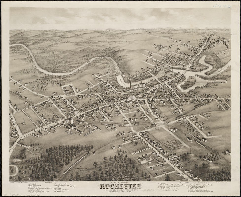 Bird's eye view of Rochester, Strafford County, New Hampshire, 1877