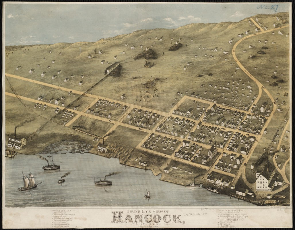 Bird's eye view of Hancock, L.S. Mich, 1873