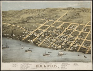 Bird's eye view of Houghton, L.S., Michigan, 1872