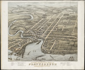 Bird's eye view of Plattsburgh, Clinton Co., New York 1877