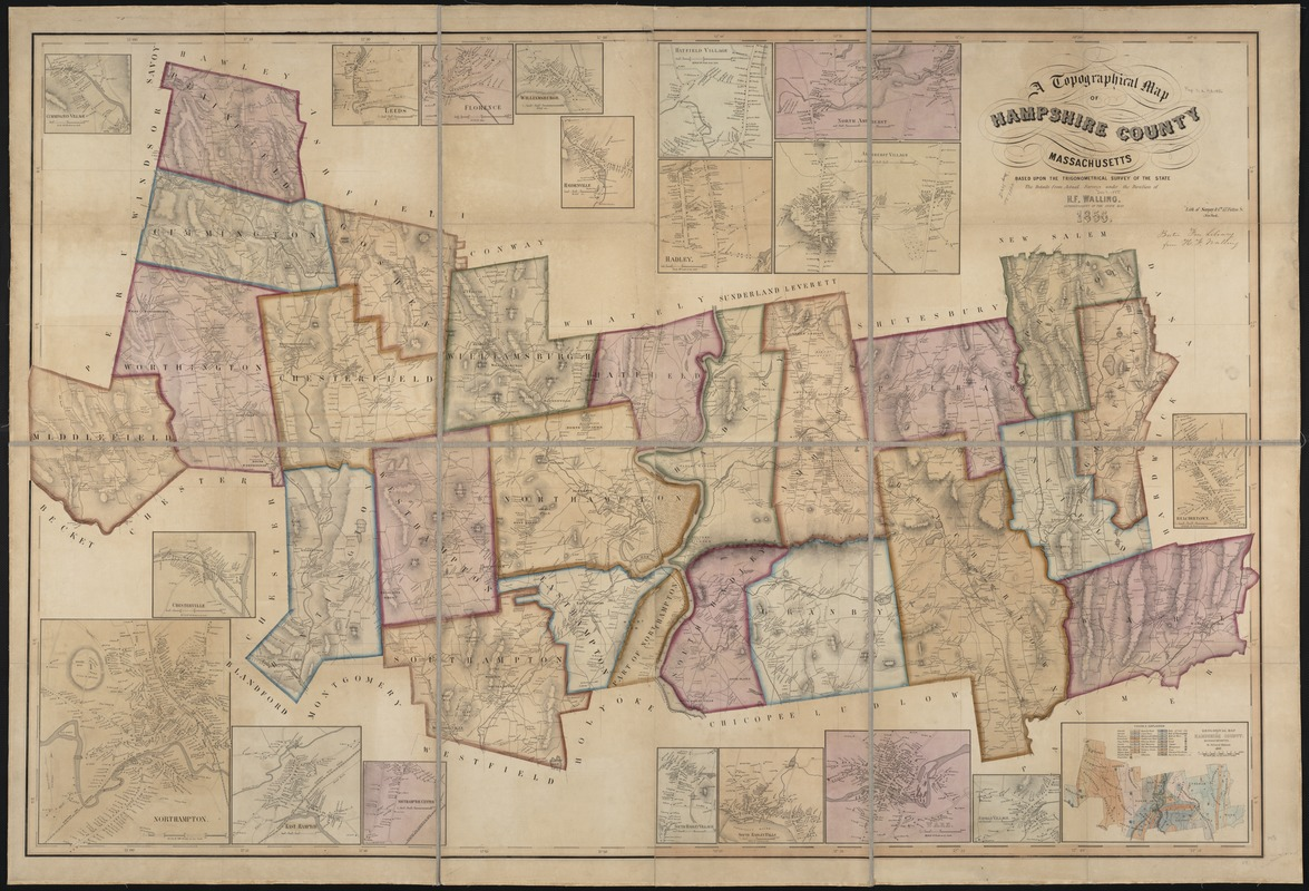 A topographical map of Hampshire County Massachusetts